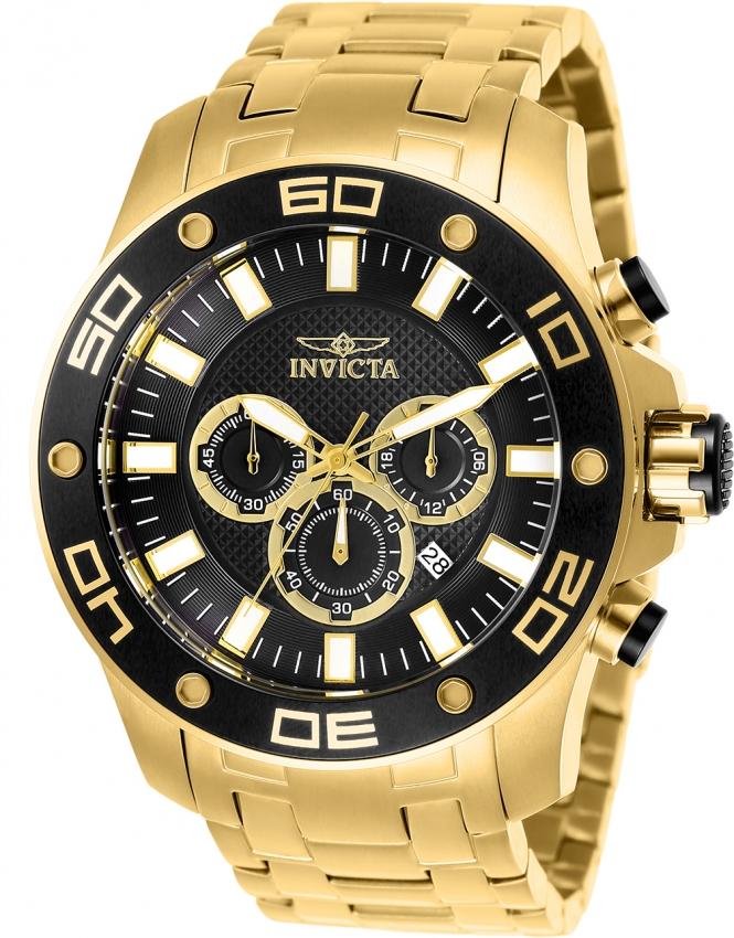 Invicta Men's 26076 Pro Diver Quartz Chronograph Black Dial Watch