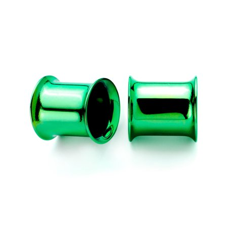 Double Flared Plugs Body Jewelry - Body Candy 2Pc Green Anodized Steel 8mm Double Flare Tunnel Plug Ear Plug Gauges Set of 2 0 Gauge