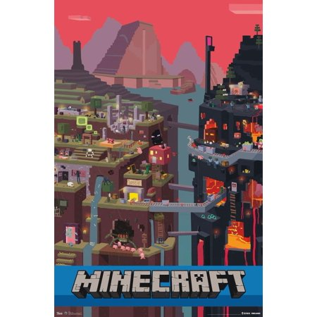 Minecraft Cube Video Gaming Poster 22X34