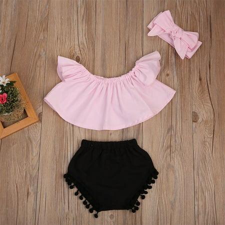 Short Girls Tube (Cute Baby Girls Short Sleeve Blouse Tube Top+High Waist Pom Pom Short)