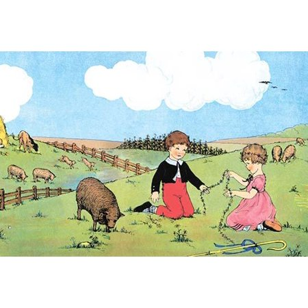 The Little boy who lived down the lane makes a garland of flowers with Bo Peep out in the meadow with the sheep as Boy Blue naps Poster Print by Queen Holden