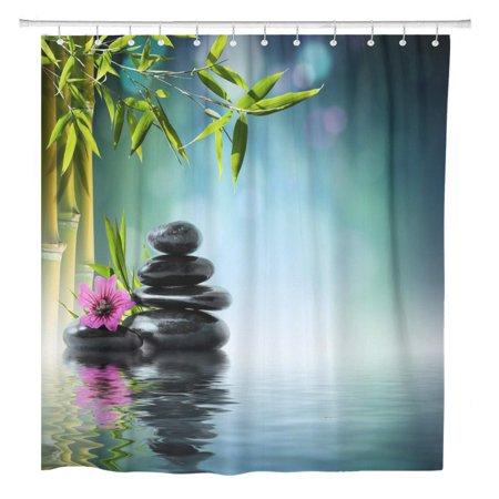 YUSDECOR Green Spa Tower Black Stone and Hibiscus Bamboo Water Bathroom Bathroom Decor Bath Shower Curtain 60x72 inch - image 1 of 1