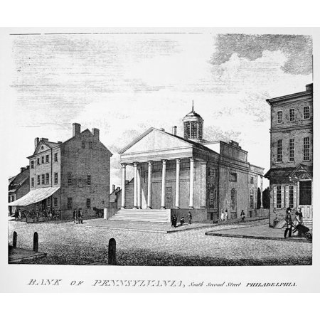 Bank Of Pennsylvania 1800 Nthe City Tavern  Left  And The Bank Of Pennsylvania South Second Street Philadelphia Line Engraving 1800 By William Birch   Son Rolled Canvas Art     24 X 36