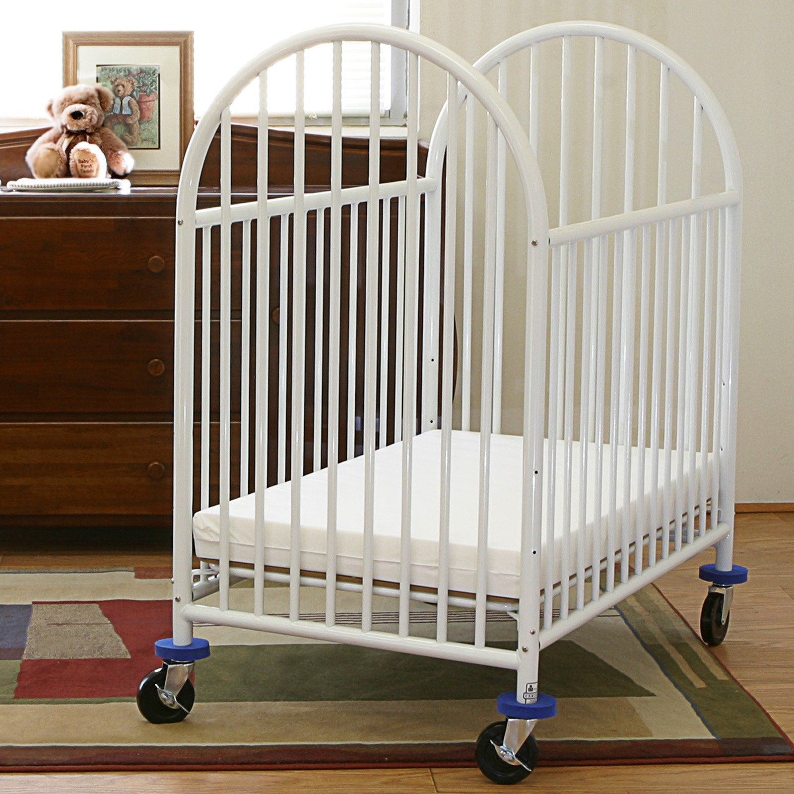 Charming LA Baby Compact Metal Non Folding Crib With 3 In. Mattress