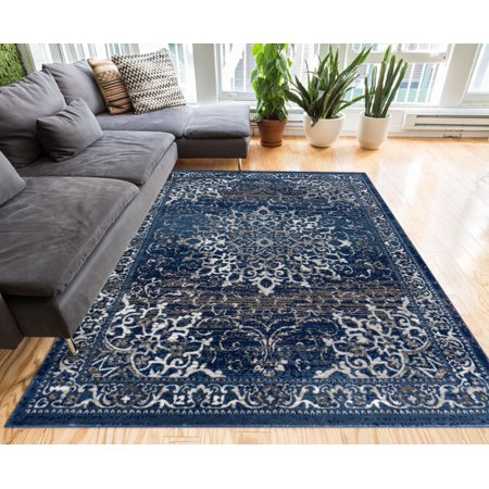 Well Woven Coverly Vintage Medallion Traditional Persian Orienta Area Rug Neutral Modern Shabby Chic Thick Soft Plush Shed Free Neutrals 8 Square Area Rug