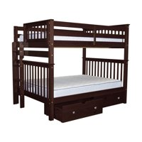 Bedz King Bunk Beds Full over Full Mission Style with End Ladder and 2 Under Bed Drawers, Cappuccino