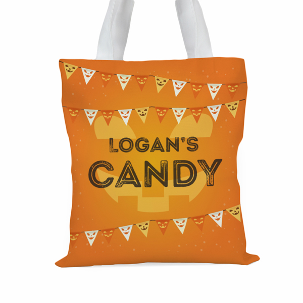 Candy Personalized Kids Large Halloween Trick or Treat Tote Bag