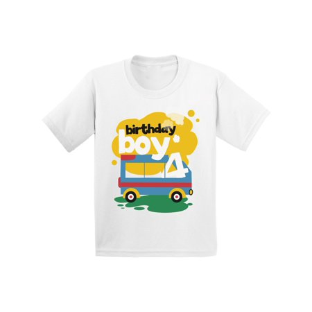 Awkward Styles Toy Truck Birthday Boy Toddler Shirt 4th Birthday Shirt for Toddler Boys Truck Themed Birthday Party Fourth Birthday Gifts for 4 Year Old Boy Cute Birthday Outfit Birthday Boy