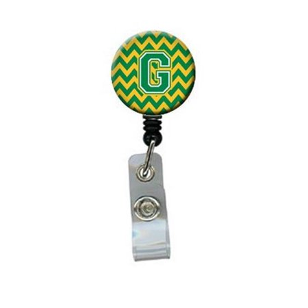 Carolines Treasures CJ1059-GBR Letter G Chevron Green & Gold Retractable Badge Reel - image 1 of 1