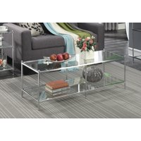 Amazon Com Shelby Glass Top Coffee Table With Quatrefoil Underlay