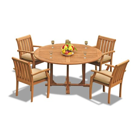 Teak Dining Set 4 Seater 5 Pc 60 Round Dining Table And 4
