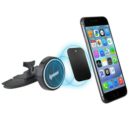 Head Car Magnet - IPOW Car Mount CD Slot Magnetic Universal Phone Holder Cradle with Strong Magnet Round Head for iPhone X 8 7 6s, Samsung Galaxy S8 S7, LG, Note, Nexus