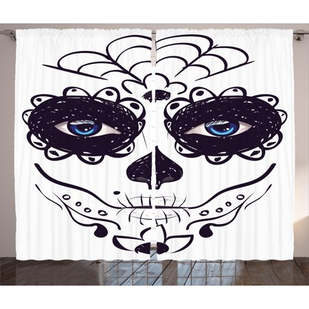 Day Of The Dead Curtains 2 Panels Set, Dia de los Muertos Sugar Skull Girl Face with Mask Make up Print, Window Drapes for Living Room Bedroom, 108W X 108L Inches, Black White and Blue, by Ambesonne