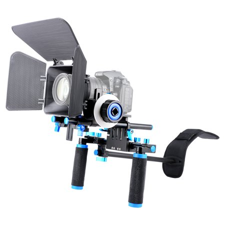 YELANGU D101 Shoulder Rig with M1 Matte Box and F0 Follow Focus Kit, Quick Release Design, 1/4