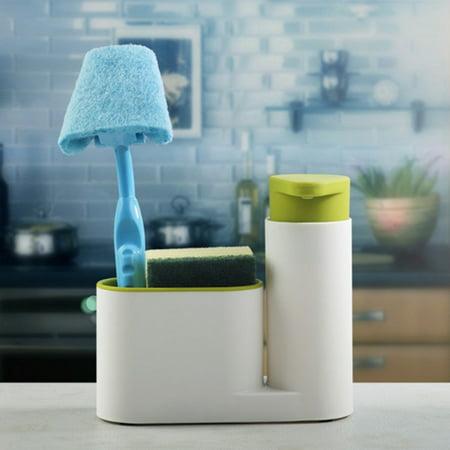 Jeobest Bathroom Liquid Soap Holder - Sponge Holder Kitchen Sink Organizer - Kitchen Bathroom Liquid Detergent Storage Box Stand Multifunction Stand Tank Cleaning Sponge Soaps Holder MZ (Sink Stand)