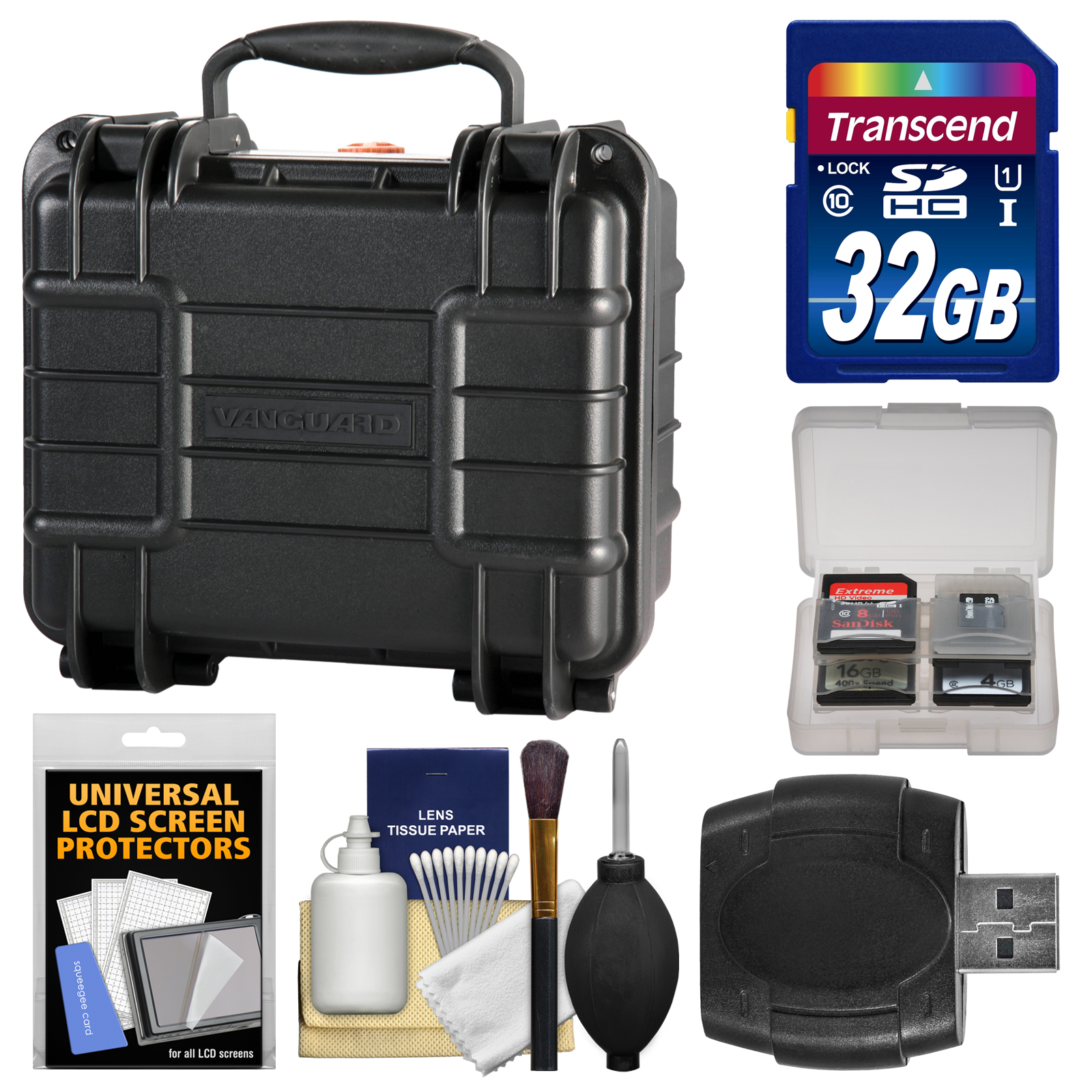 Vanguard Supreme 27F Waterproof and Airtight Hard Case with Foam with 32GB Card + Accessory Kit