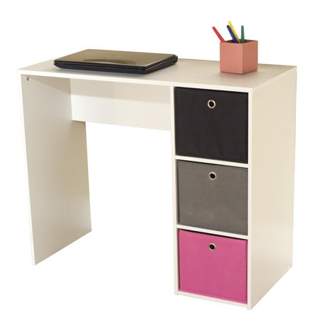 Kids Desk with Three Fabric Storage Bins, Multiple Colors