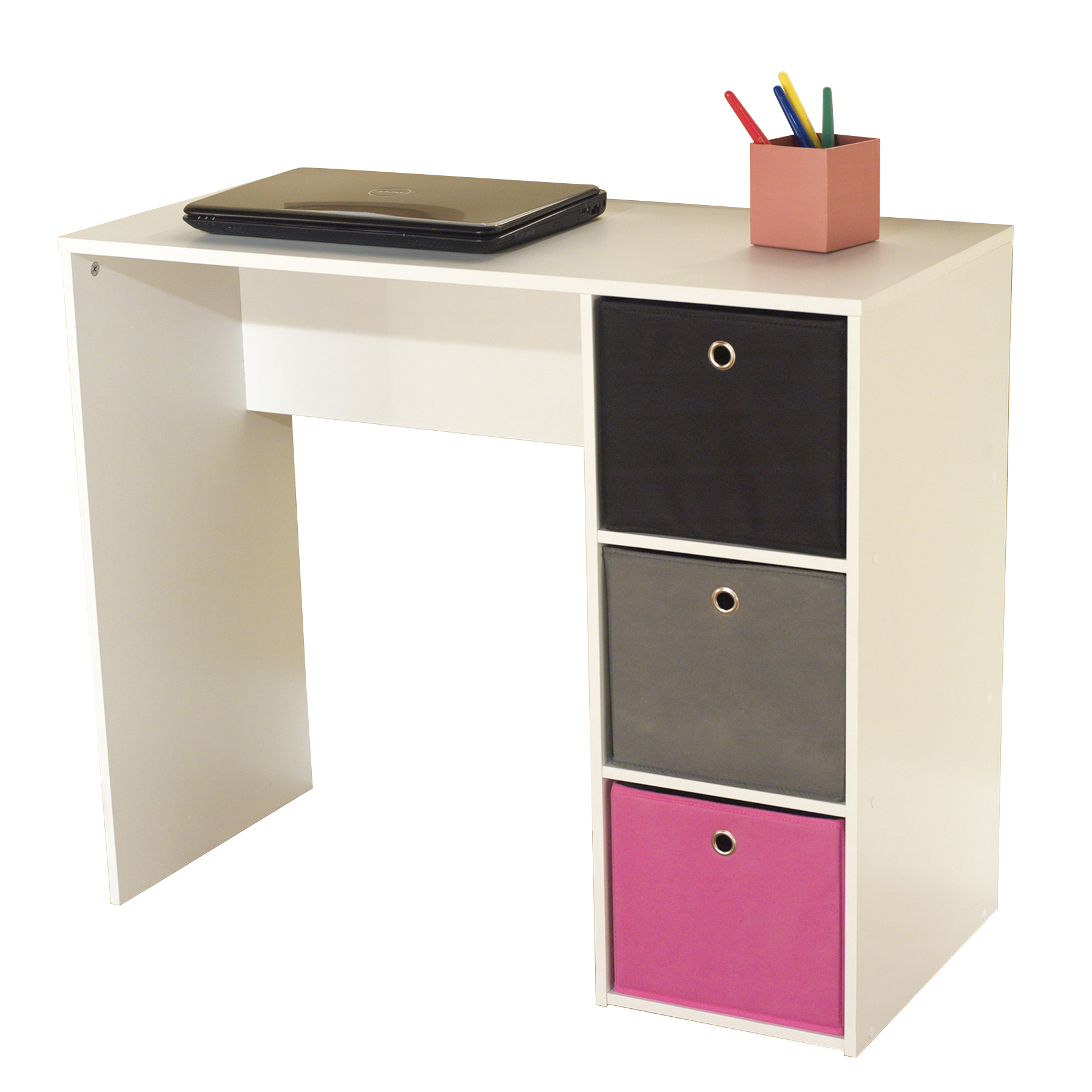 Attrayant Kids Desk With Three Fabric Storage Bins, Multiple Colors