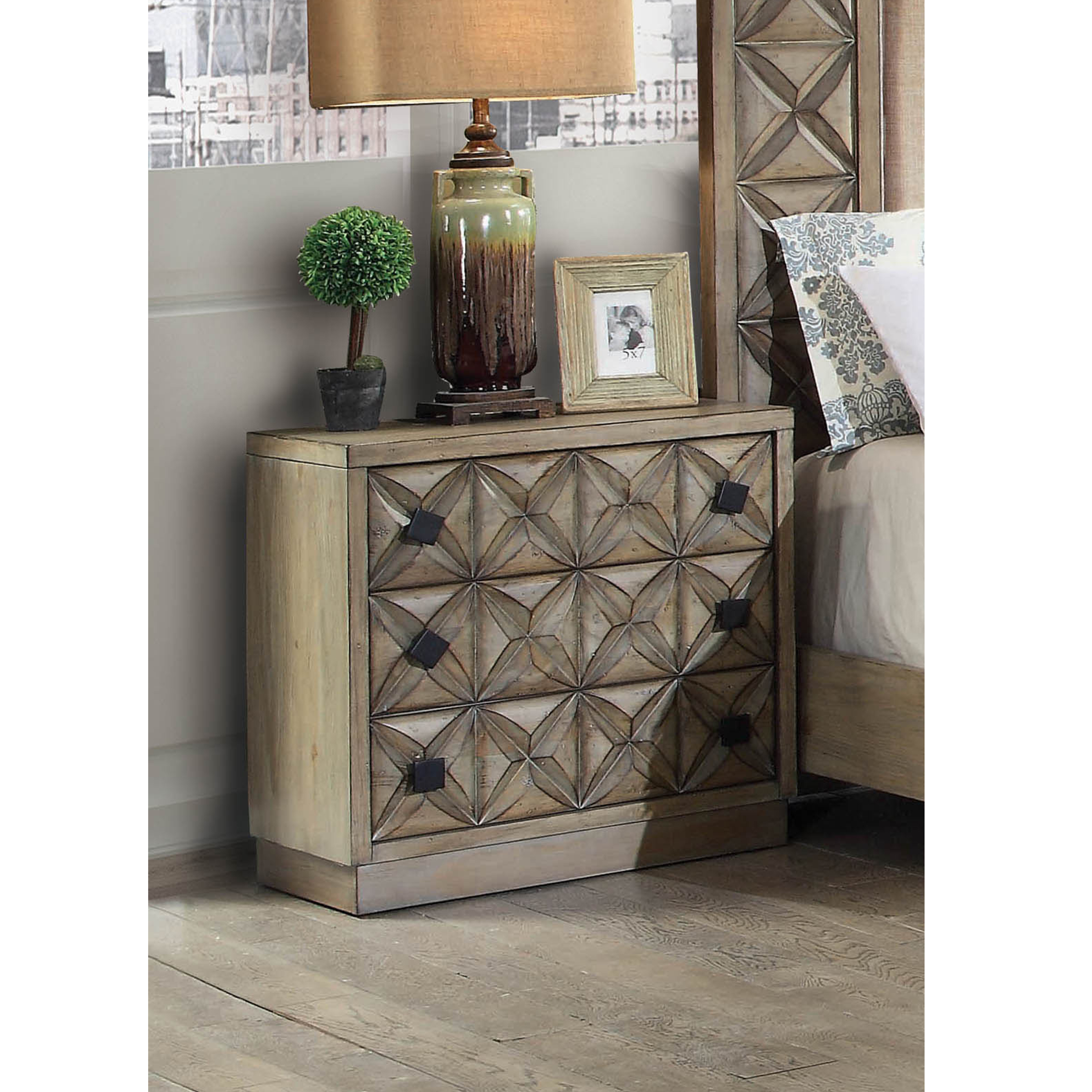 Furniture of America Palermo Geometric Carved Nightstand