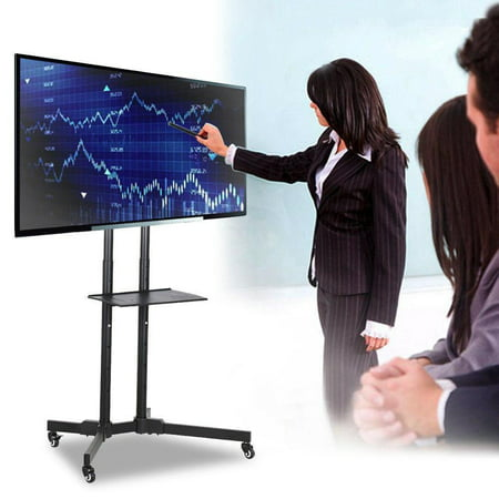 32 to 65 Inch Mobile TV Stand Universal Flat Screen Rolling TV Cart with Mount for LED LCD Plasma Flat Panels on Wheels ()