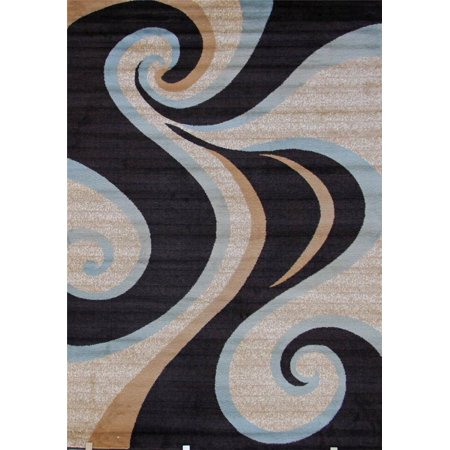 Persian Rugs 0327 Brownblue Swirls Modern Abstract Area