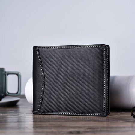 Men Carbon Fiber fashion Leather Wallet Anti-magnetic Wallet Men's Cow fashion Leather Wallet