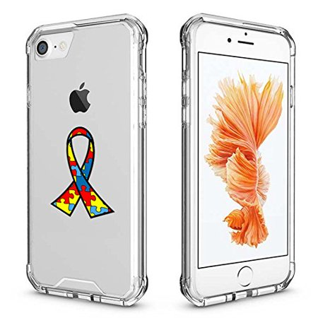 For Apple iPhone Clear Shockproof Bumper Case Hard Cover Autism Awareness Ribbon Puzzle Color (Clear For iPhone 8) for $<!---->