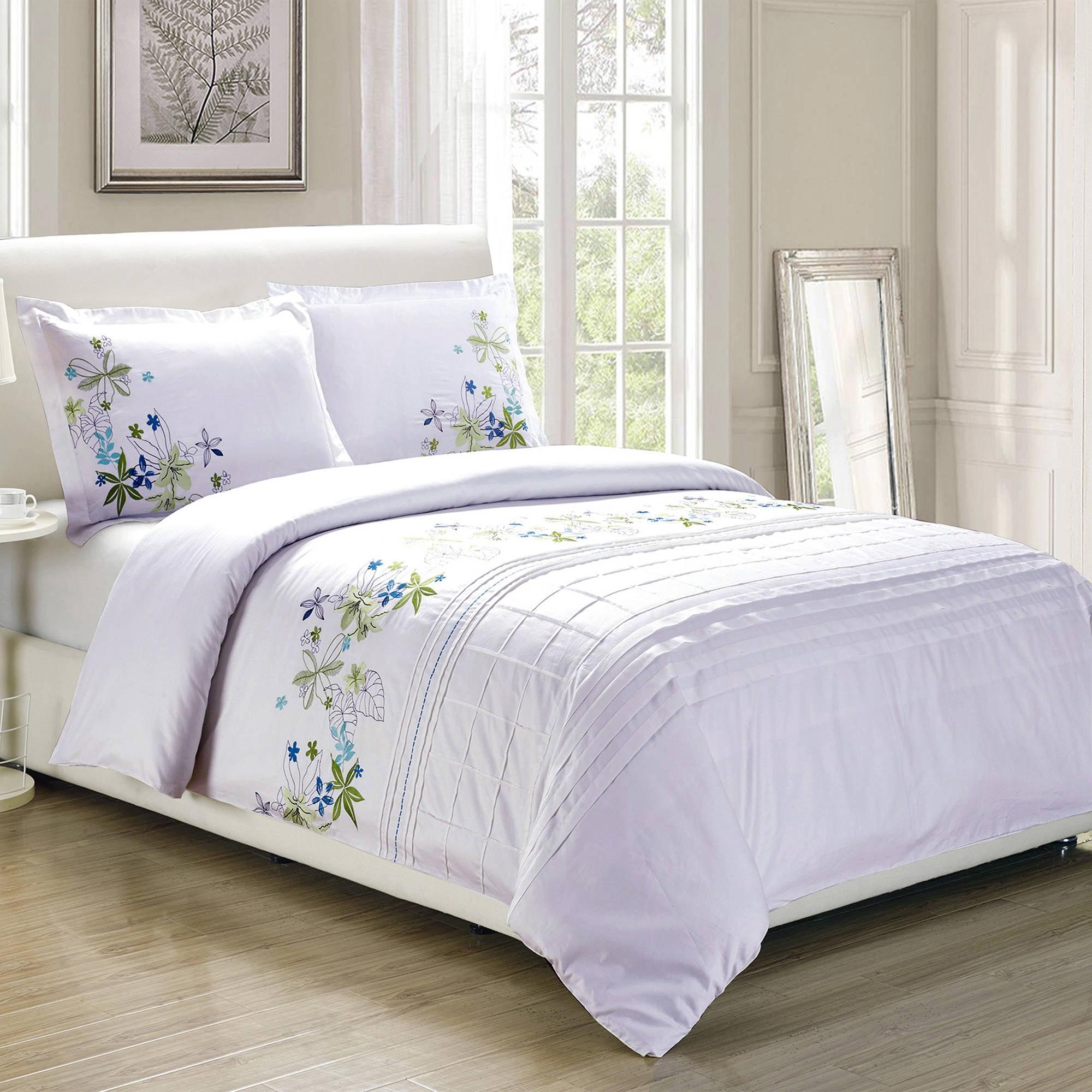 Superior Spring Blooms Premium Cotton Twill Fabric Embroidered Duvet Cover Set