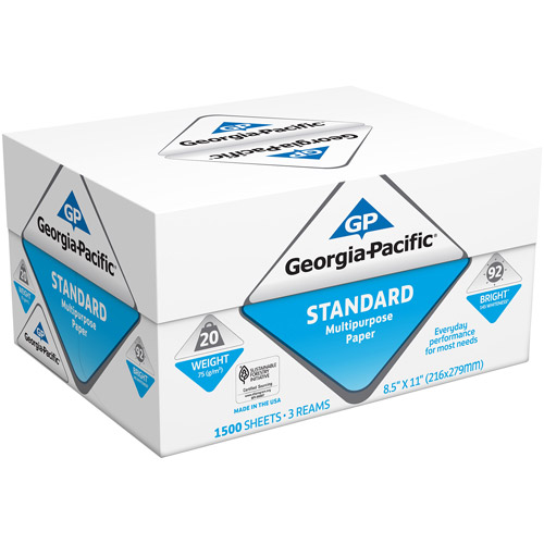 "Georgia-Pacific Standard Multipurpose Paper, 92 Brightness, 8-1/2"" x 11"", White, 3 Reams, 1500/Carton"