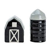 Boston Warehouse Urban Farmhouse Salt and Pepper Shakers, 2 piece set, Hand-painted ceramic