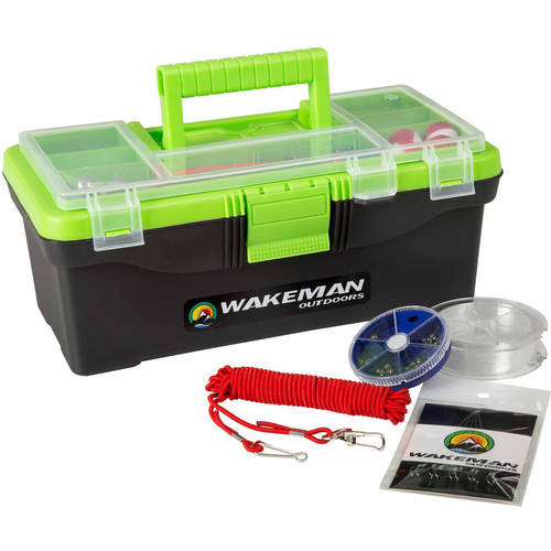 Wakeman Fishing Single Tray Tackle Box 55-Piece Tackle Kit, Lime Green by Trademark Global LLC