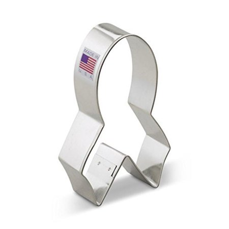 Ann Clark Pink Cancer Awareness Ribbon Cookie Cutter - 4 Inches - Tin Plated Steel Awareness Ribbon Cookie Cutter