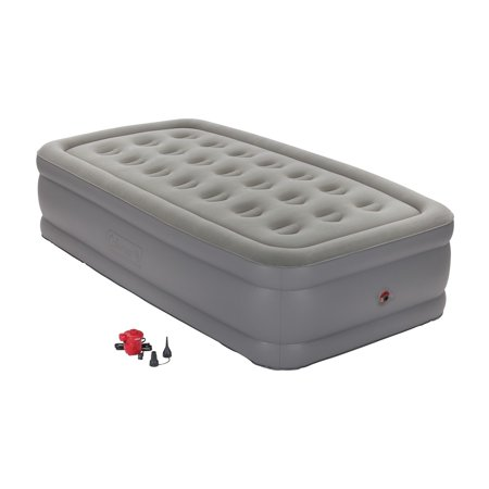 Coleman GuestRest Plus Double High Airbed - Twin, Grey, with Pump - (Coleman Twin Double High Air Mattress With Pump)