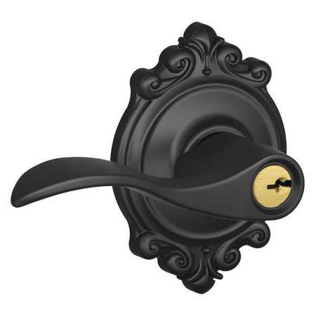 Schlage F51-ACC-BRK Accent Single Cylinder Keyed Entry Door Lever Set with Decorative Brookshire Trim
