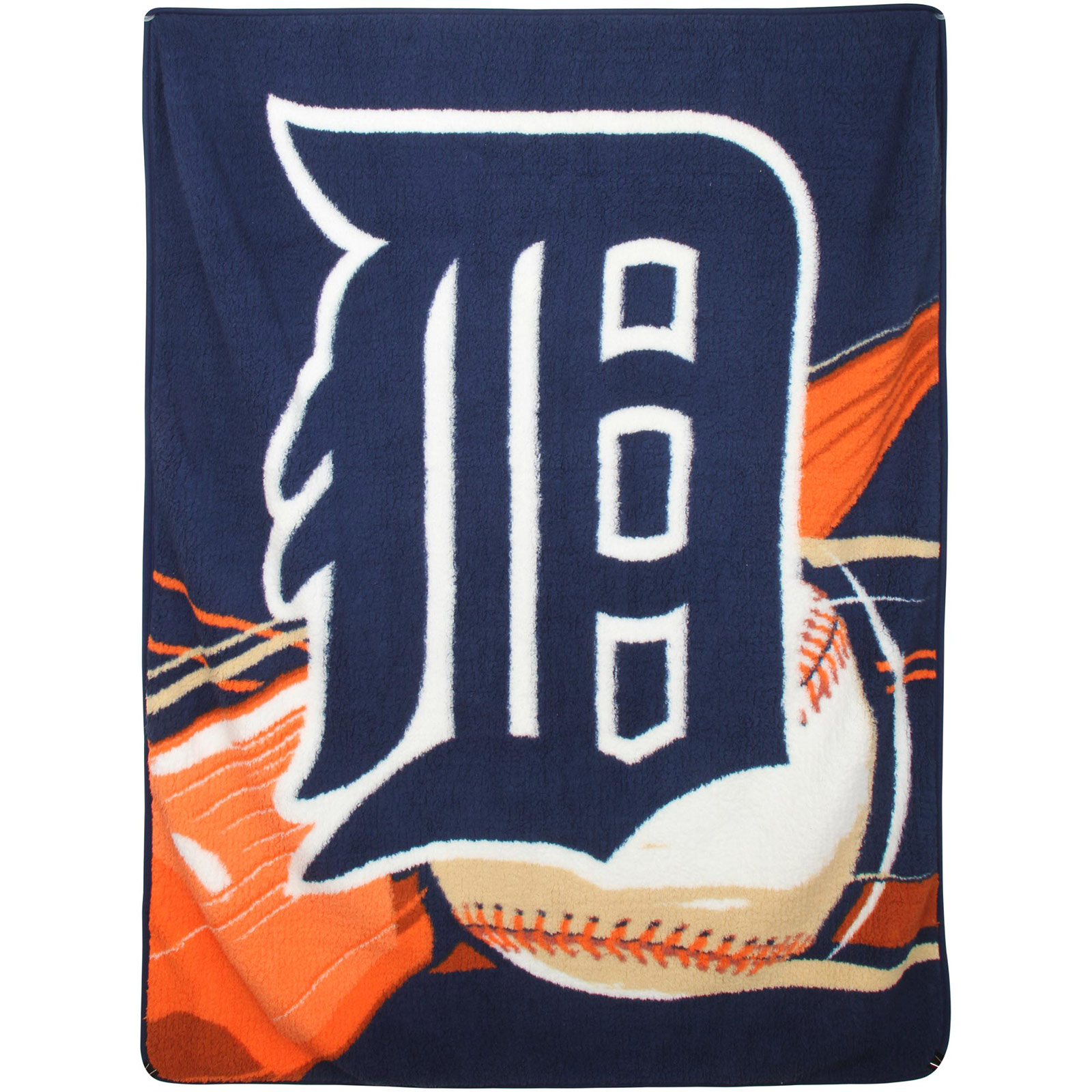 "Detroit Tigers 50"" x 60"" Big Stick Sherpa Throw Blanket - Navy Blue/Orange - No Size"