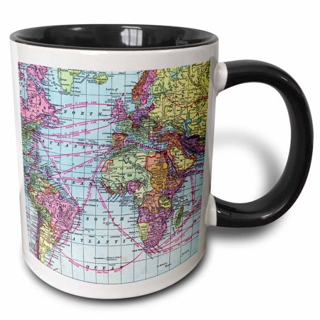 3dRose Colorful Vintage World Map - distance calculations between countries on lines - south america africa, Two Tone Black Mug, 11oz