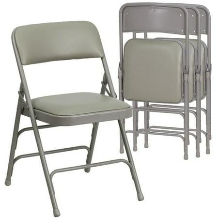 Hercules Hinged Vinyl Padded Folding Chair 4 Pack Gray