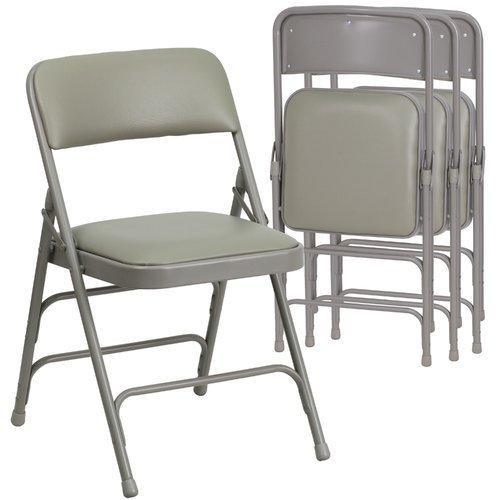 Hercules Hinged Vinyl Padded Folding Chair   4 Pack, Gray