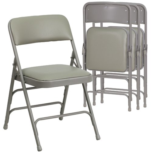 Hercules Hinged Vinyl Padded Folding Chair - 4-Pack, Gray