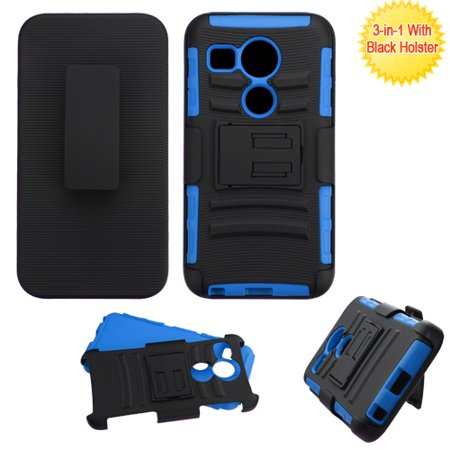 For LG Nexus 5 Black/Blue Impact Advanced Armor Protector Cover Case w/Holster](smartphone lg nexus 5)