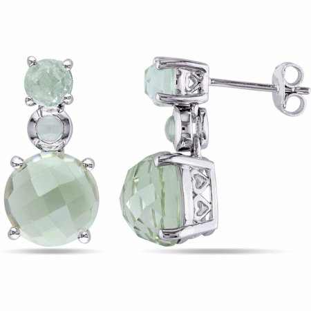 9-1/3 Carat T.G.W. Green Amethyst Sterling Silver Stud Earrings