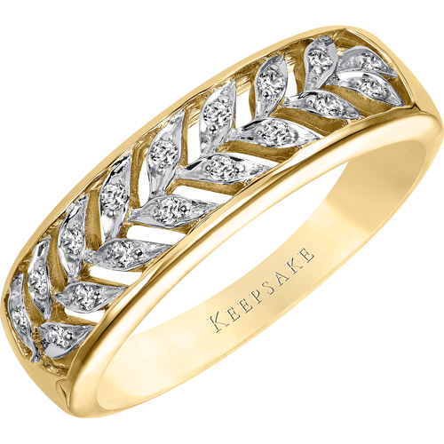 Keepsake Lattice Diamond Accent 10kt Yellow Gold Anniversary Band