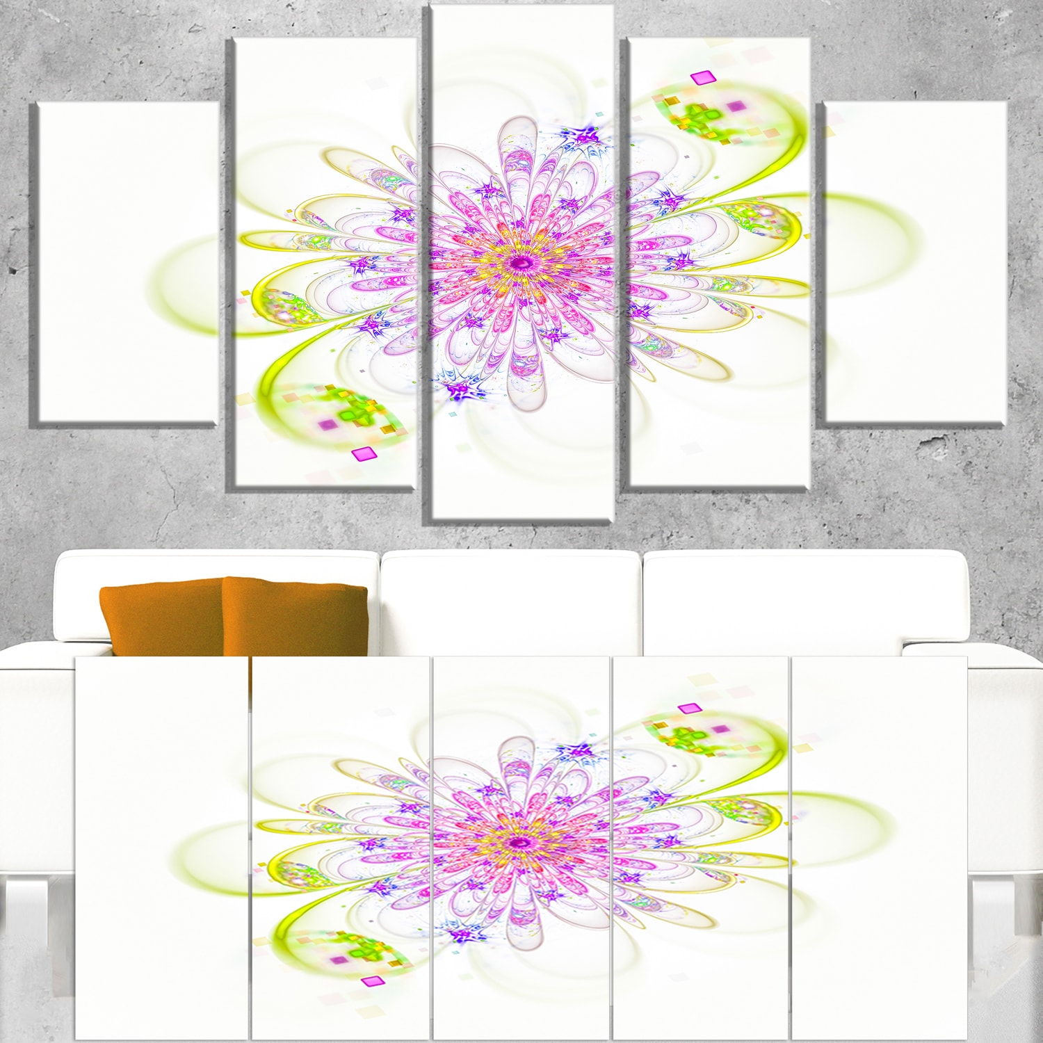 DESIGN ART Purple Green Glowing Fractal Flower - Floral Canvas Artwork Print 60 in. wide x 32 in. high - 5 Panels Diamond Shape