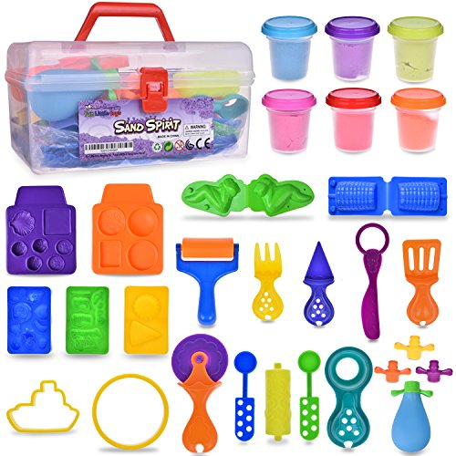 Magic Sand with Molds and Tools Kit Educational Toy DIY kids Gift Multiple Color (6) Molding Sand 24PCs F-91