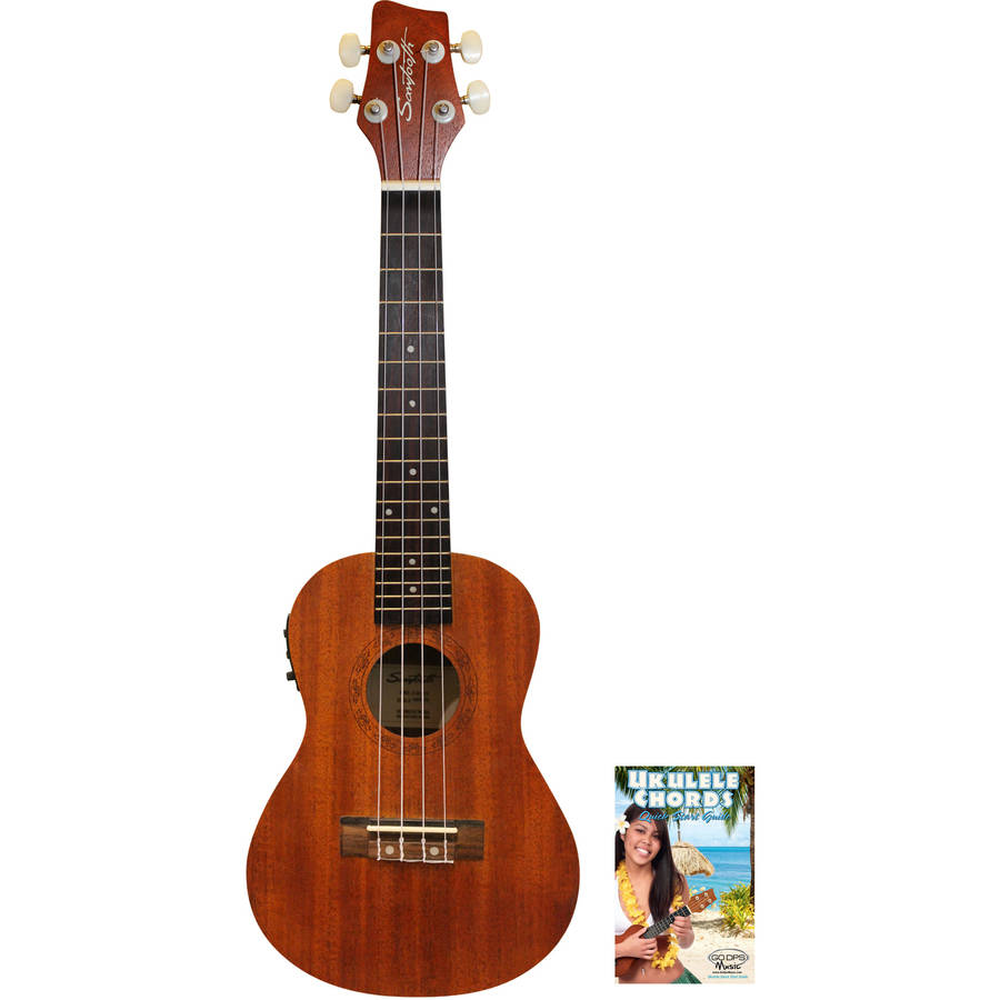 sawtooth solid top mahogany concert ukulele with preamp and quick start guide