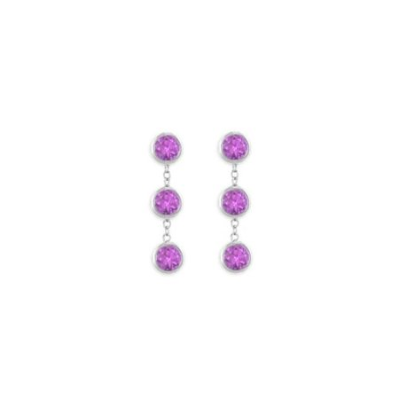 UBERBK7155W14AM 14K White Gold Fashion Bezel Set Amethyst Drop Station EarringsTotaling 5 Carat Gem Weight 14k White Gold Set