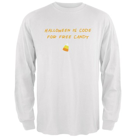 Halloween is Code For Free Candy White Adult Long Sleeve T-Shirt - Halloween Express Discount Code