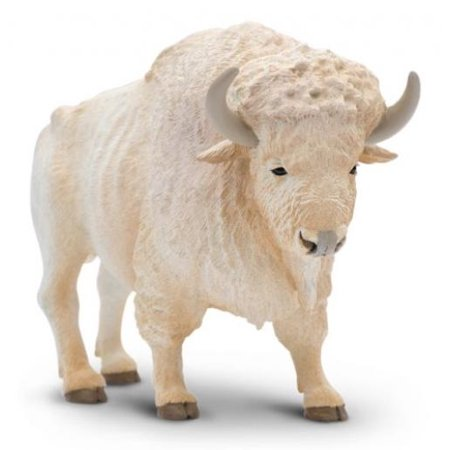Buffalo Figurine - Safari Ltd North American Wildlife White Buffalo Realistic Hand-Painted Toy Figurine Model For Ages 3 And Up