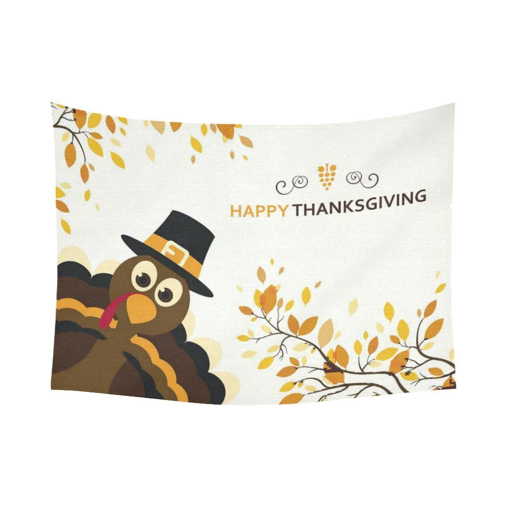 GCKG Autumn Leaves Cartoon Turkey Happy Thanksgiving Day Tapestry Horizontal Wall Hanging Holiday Wall Decor Tapestry 51x60 Inches - image 2 de 2