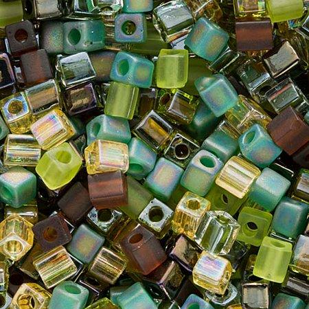 Miyuki 4mm Glass Cube Bead Mix Earthtones 10